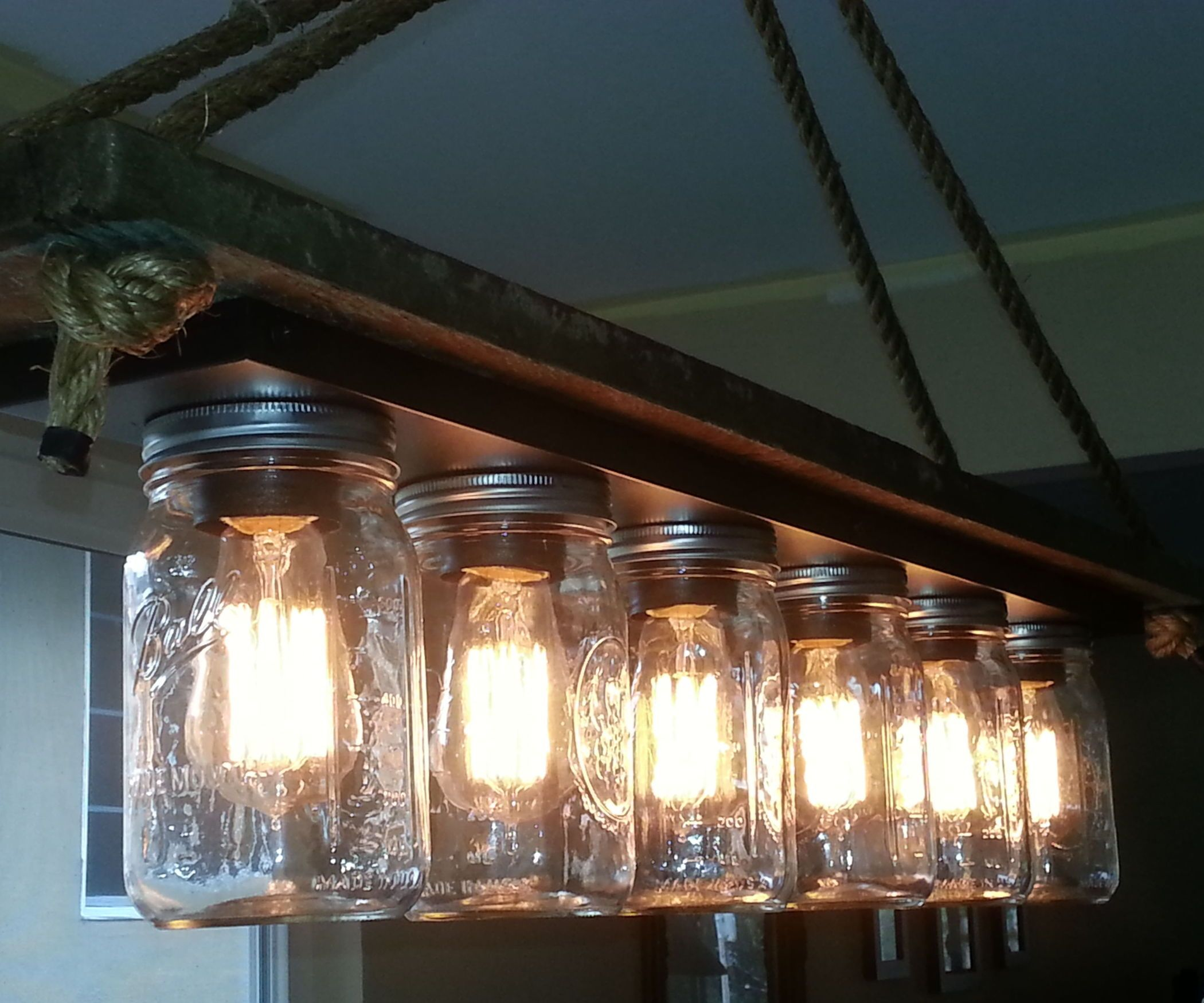 Edison Bulb Chandelier Mason Jar Lighting Mason By: Mason Jar 6 Light Edison Hanging Lamp