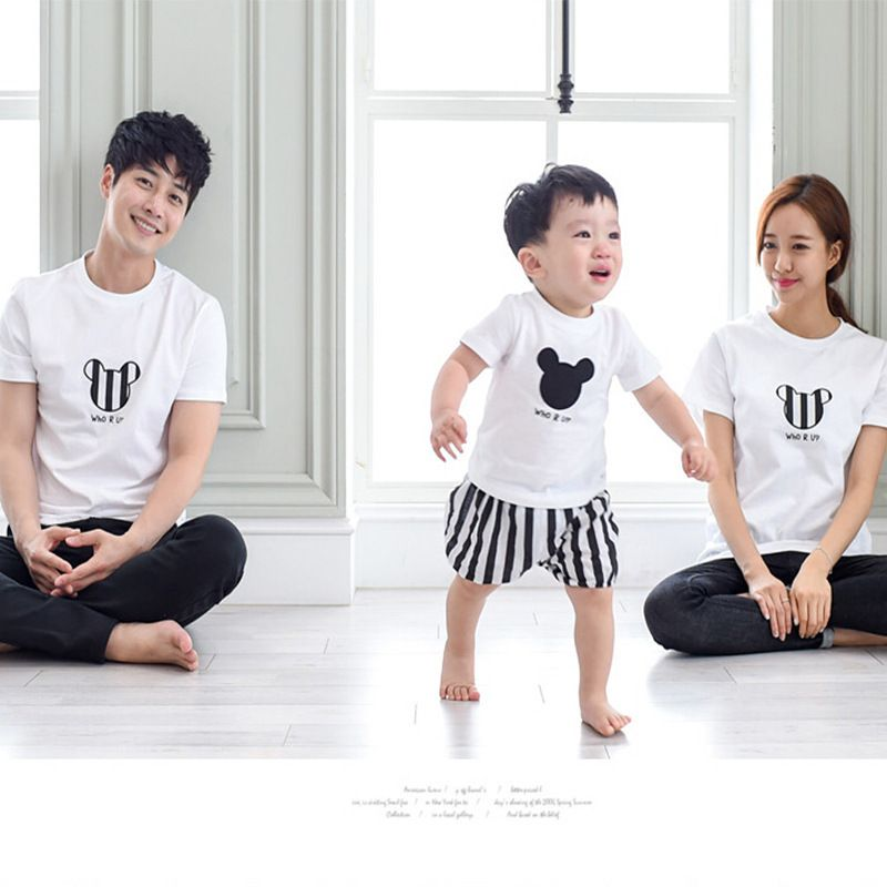 2017 Family Look Matching Mother Daughter Clothes Mother Father Baby Boy T Shirt Mickey Mommy ...