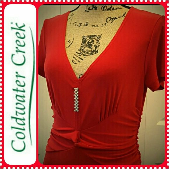 Coldwater Creek Red Dress NWT, Stunning Ladies Dress in Red! Silver Studs in a Row to Accentuate Elegance, Pleated Flowy Style Perfect for a Night Date Out, or Parties or Just Because! Made in USA, NEW Coldwater Creek Dresses