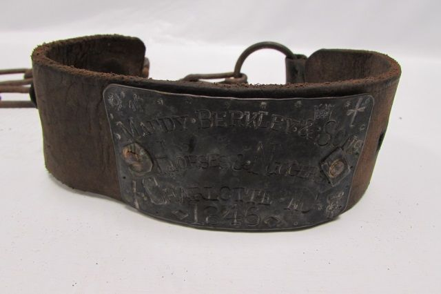 Leather Metal Slave Collar And Leash  Plaque Has Religious Symbols States Maddy Berkley Sons Horses Niggers Charlotte Nc