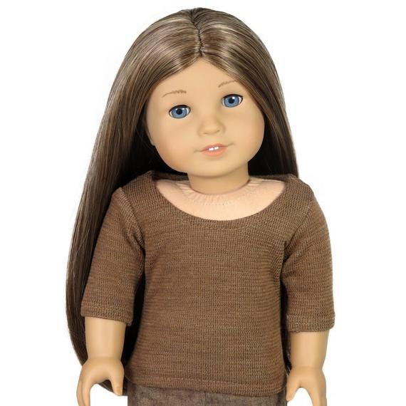 Top.  Brown Thermal Scoop-Neck Tee.  18 Inch Doll Clothes. #18inchdollsandclothes