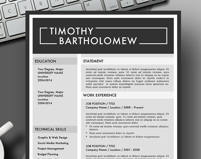 masculine bold resume template instant download for use with