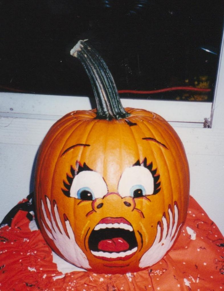 small resolution of pumpkin painted scare face