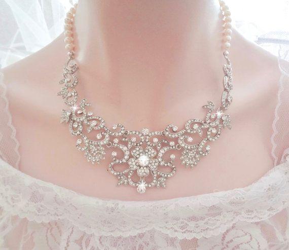 Bridal jewelry set Swarovski crystal and pearl jewelry set Pearls