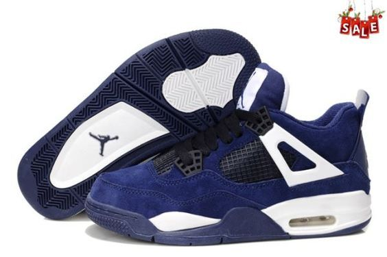 2014 Womens Dark Blue White Air Jordan Retro 4 Anti-fur Shoes BOHU 1645727