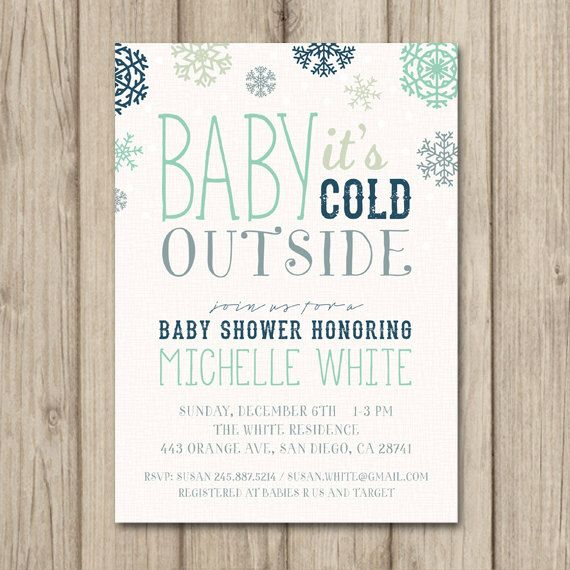 WINTER BABY SHOWER Invitation - Baby It's Cold Outside - Tribal Christmas - Printable Baby Shower by kimberlyjdesign on Etsy https://www.etsy.com/listing/203114853/winter-baby-shower-invitation-baby-its