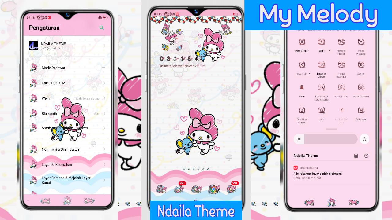 My Melody Love Tema Oppo Tembus Semua Aplikasi Hello Kitty Gambar Karakter Aplikasi
