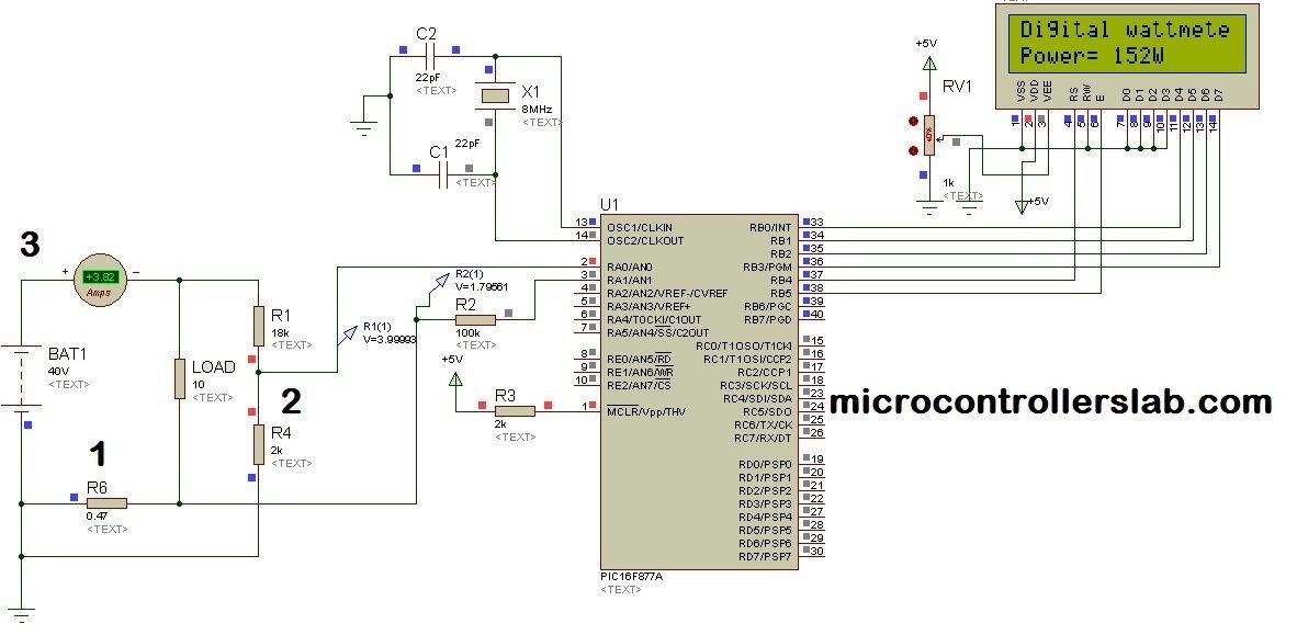 Digital Dc watt meter using pic microcontroller | microcontrollers ...