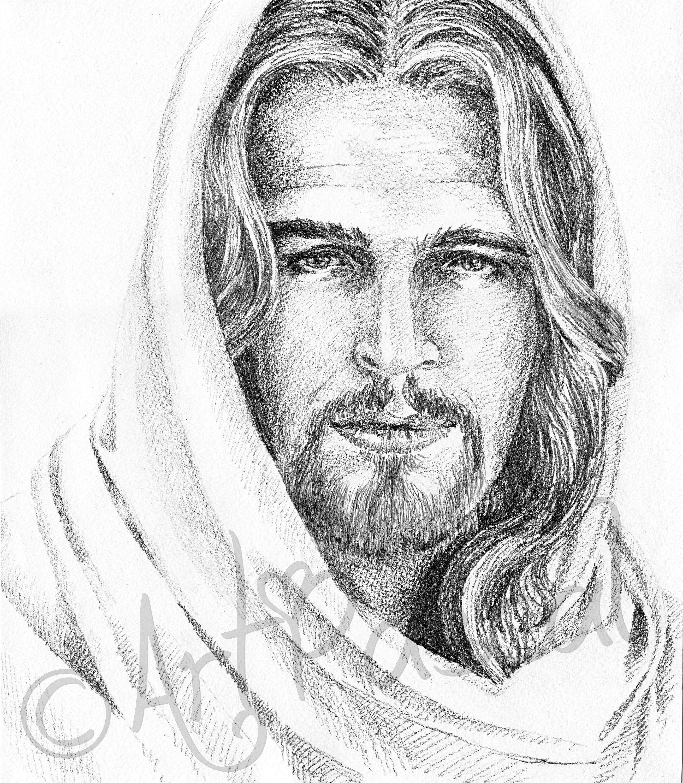 Jesus Christ Portrait Printable Black And White Graphite Etsy Jesus Christ Portrait Jesus Art Drawing Jesus Christ Drawing