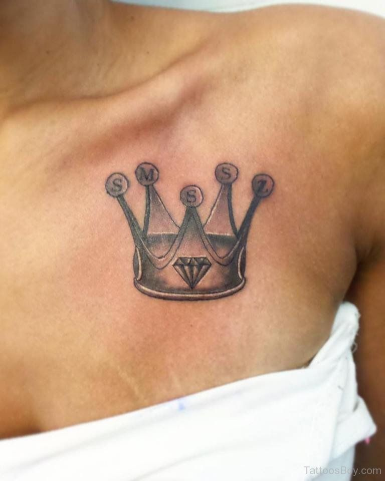 Grey Crown Tattoo On Girl Front Shoulder Tattoos Girl Tattoos Crown Tattoo