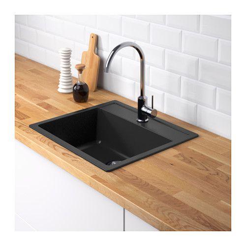 H llviken 1 bowl insert sink drain strainer black quartz - Ikea rubinetti cucina ...