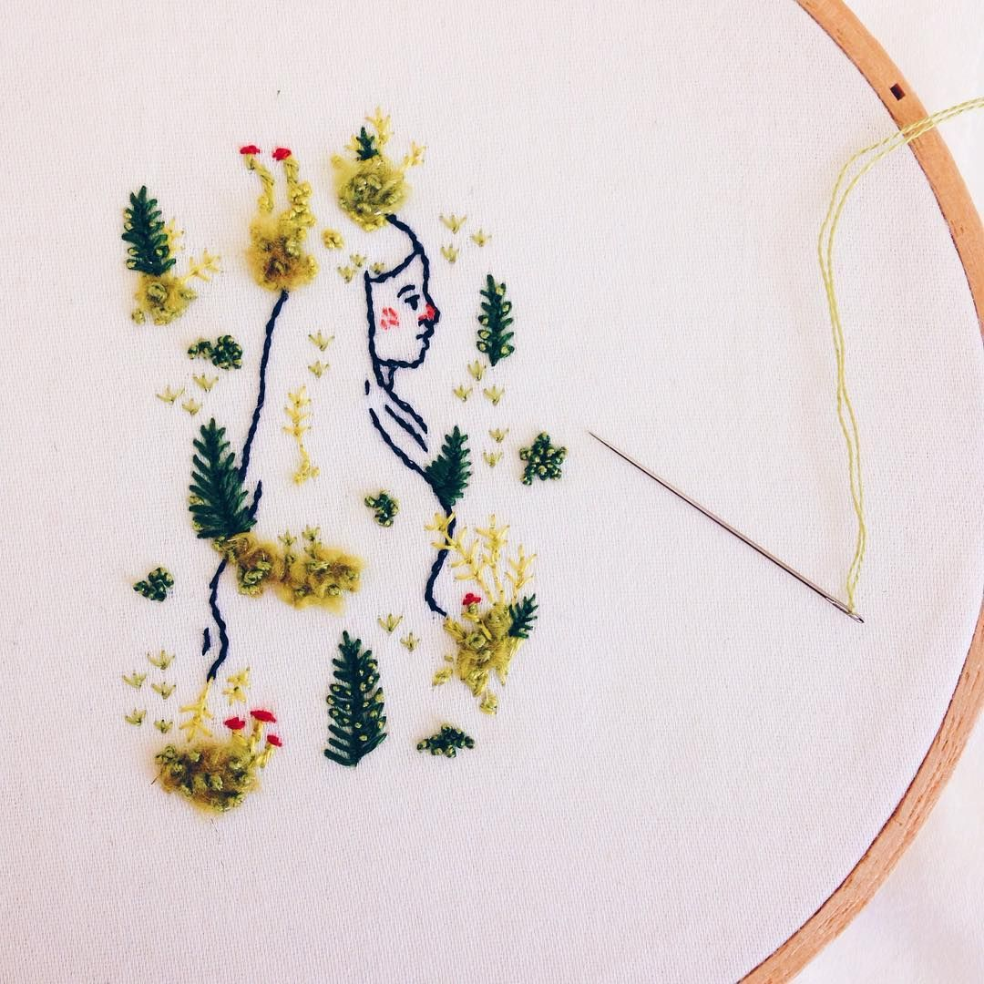 Starting something new, stitching moss and lichen:
