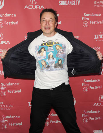 Elon Musk having fun repping 80s hair band