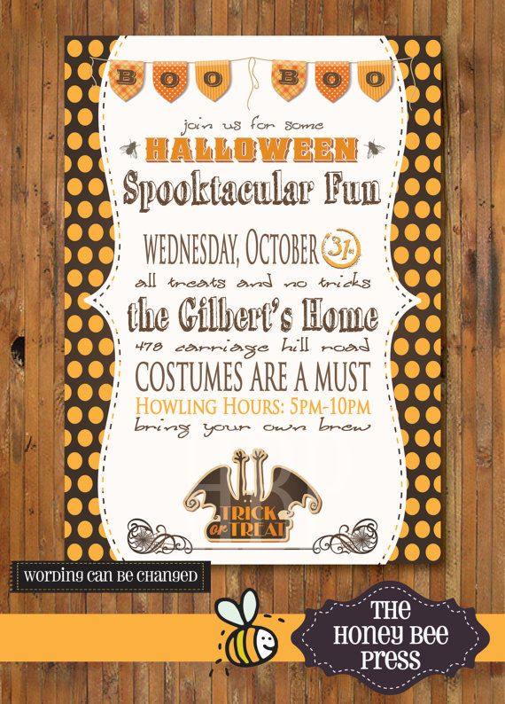070a6b32926 Halloween Party Invitation - Costume Party Invitation - Adult Halloweeen  Party by The Honey Bee Press