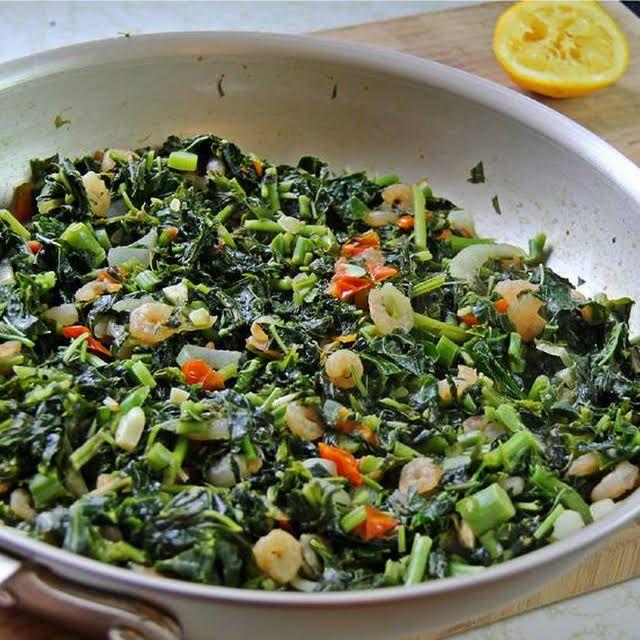 jamaican callaloo with shrimp recipe  yummly  jamaican