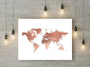 Rose Gold World Map Poster Large World Map Print Faux Foil Map ...