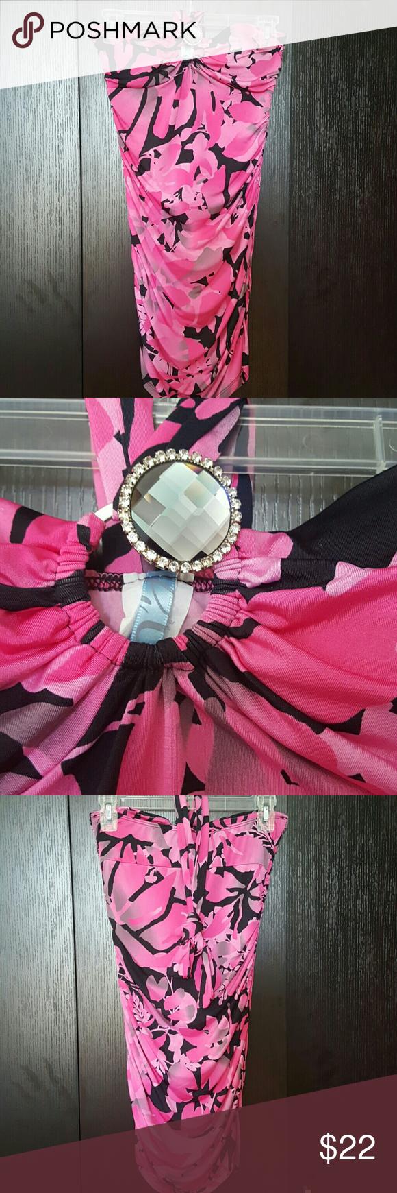 Pink/black design short halter dress Pink/ black design short halter dress size medium juniors or petite size Dresses Mini