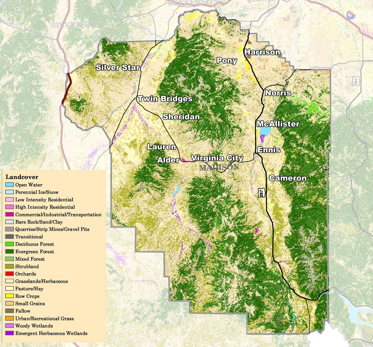 Pony Montana Map.Another Map Of Madison County Mt Ennis Mt Pinterest Madison
