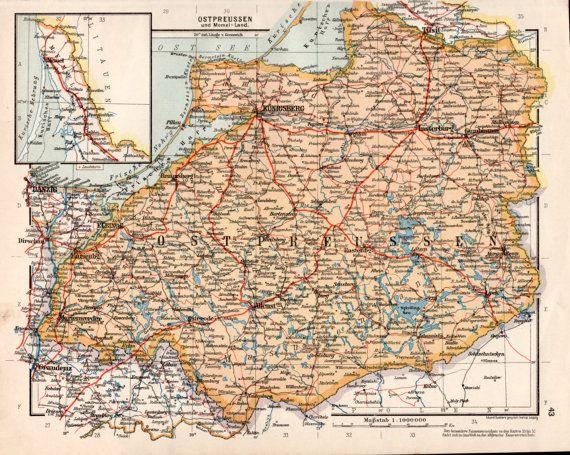 1920s East Prussia Map German Empire Old Map Ostpreuen Memel