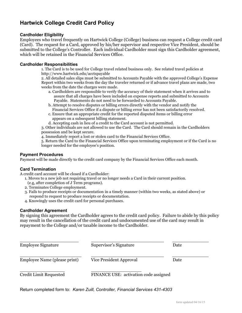 Hartwick College Credit Card Policy Intended For Corporate Credit Card Agreement Template 10 Prof Corporate Credit Card College Credit Business Credit Cards