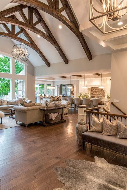 Vaulted Ceiling With Wooden Beams Farm House Living Room French