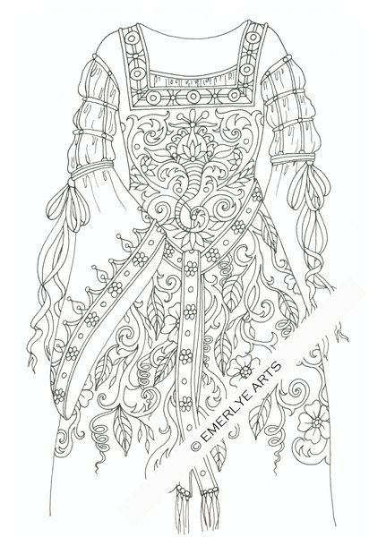 Medieval Gown With Ribbons An Adult Coloring Page