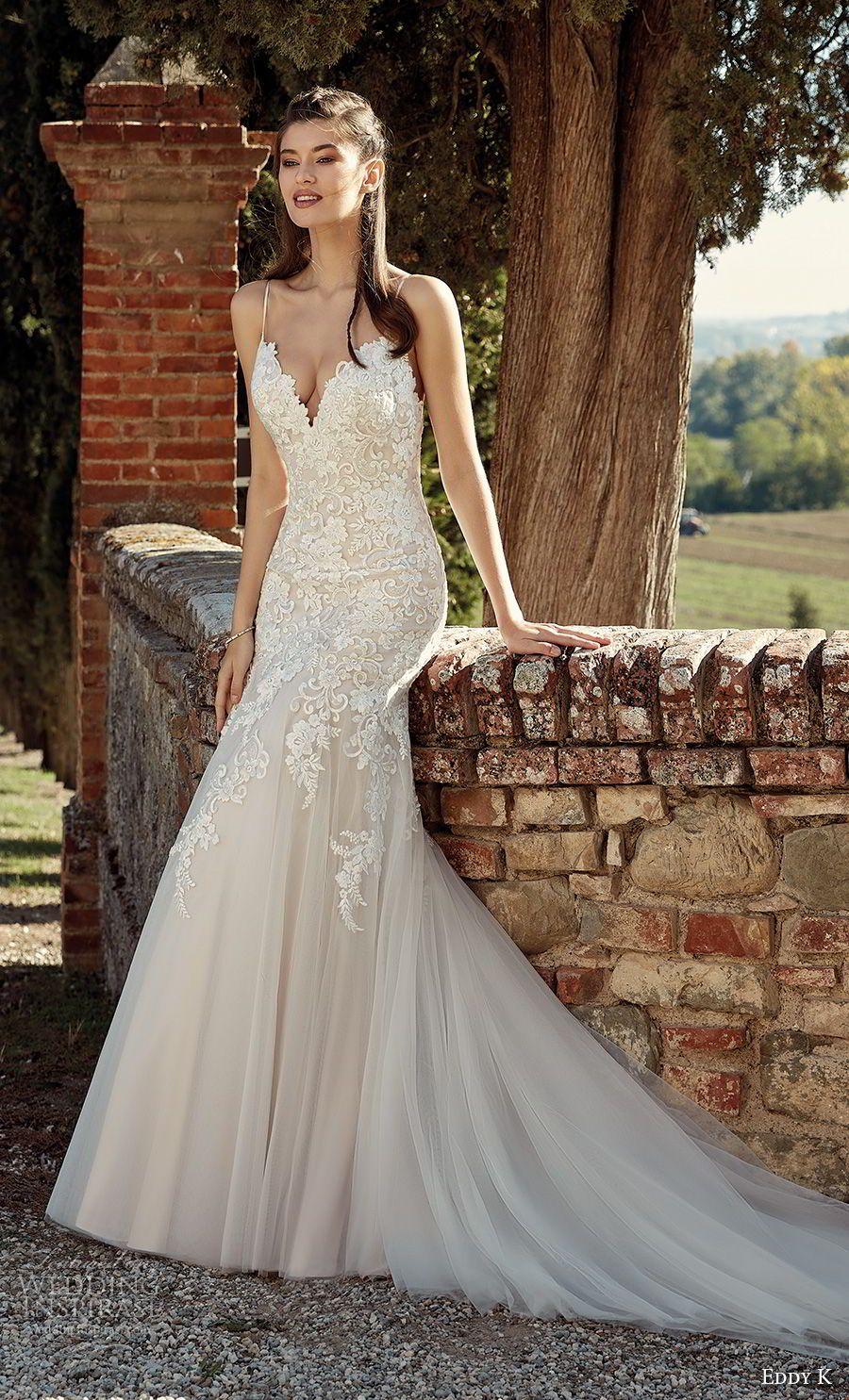 e10ab88100d7 Gorgeous Wedding Dress · Chapel Train · eddy k 2019 ek spaghetti strap  sweetheart neckline heavily embellished bodice tulle skirt fit and flare