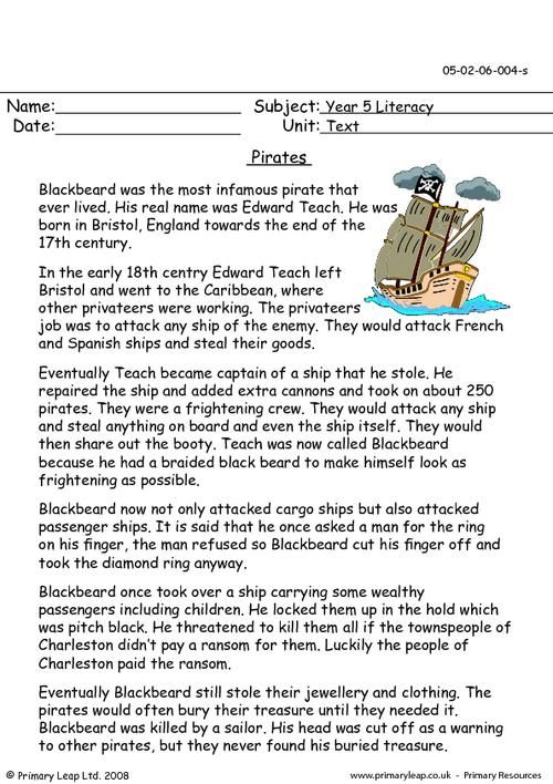 Primaryleap Co Uk Pirates Worksheet Pirates Literacy