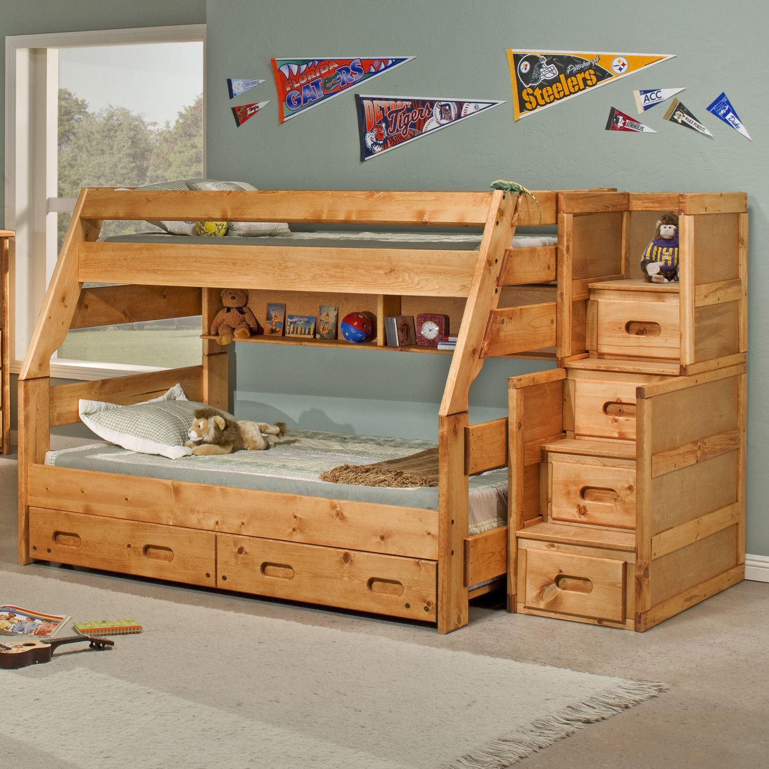 Loft bed with stairs and desk   Hardwood Bunk Beds with Stairs  Bedroom Interior Designing