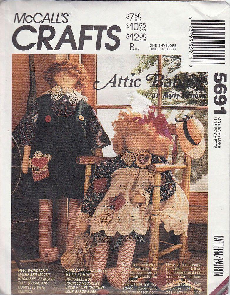 McCalls Crafts 5691 Soft Doll Pattern Attic Babies Marty Maschino Maisie Mortie #McCallsCrafts #MaisieandMortieHuckabee