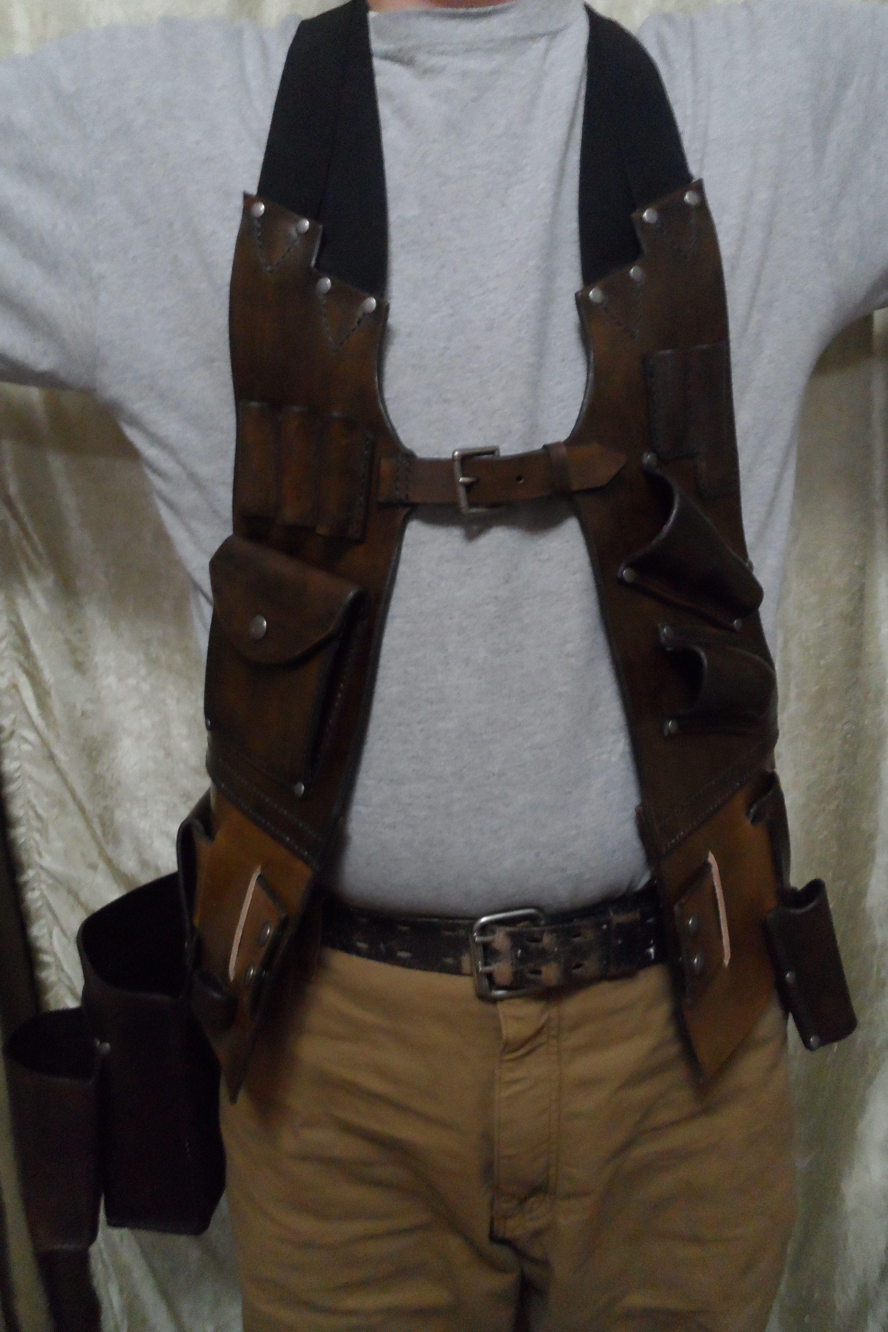 "Heavy Duty 2/"" Wide Professional Leather Work Belt /& Brown Hammer Holder Safety"