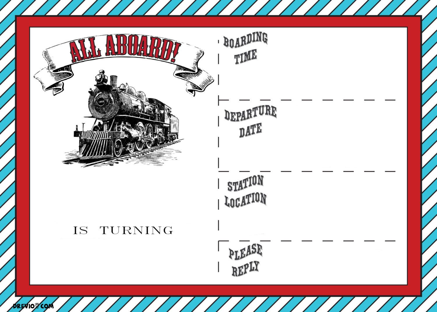Awesome Free Printable Vintage Train Ticket Invitation Template