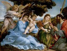 María y el Niño con Santa Catalina y Santiago el Mayor (Lorenzo Lotto, 1527-33. Museo de Historia del Arte Viena)