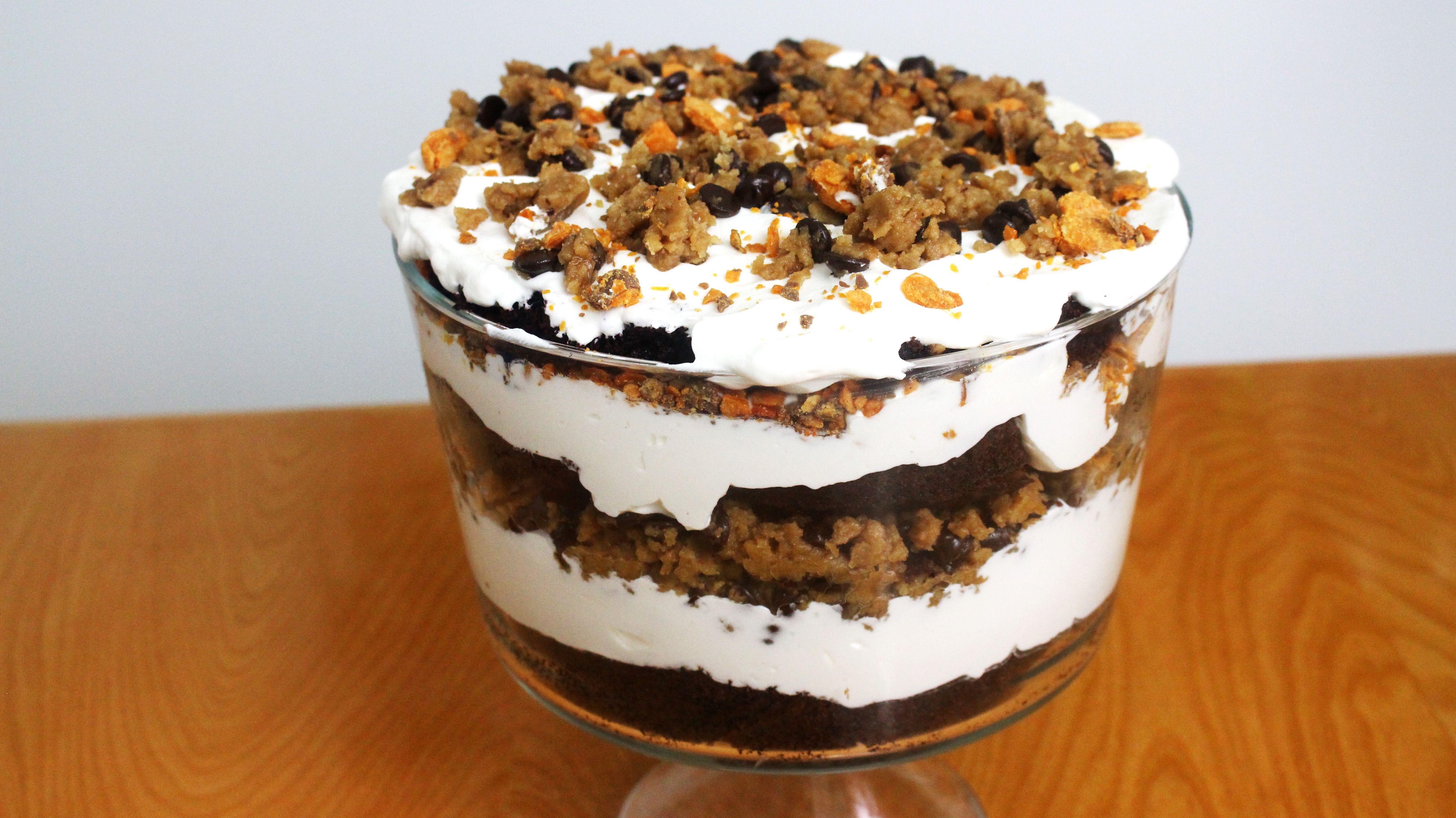 Chocolate Cake Cookie Dough Trifle – It's Raining Flour