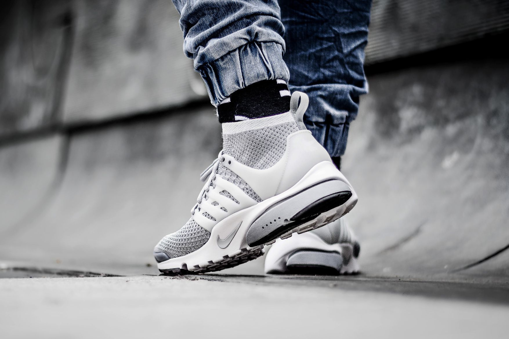 Nike Air Presto Ultra Flyknit Wolf Gris Baskets Pinterest Air