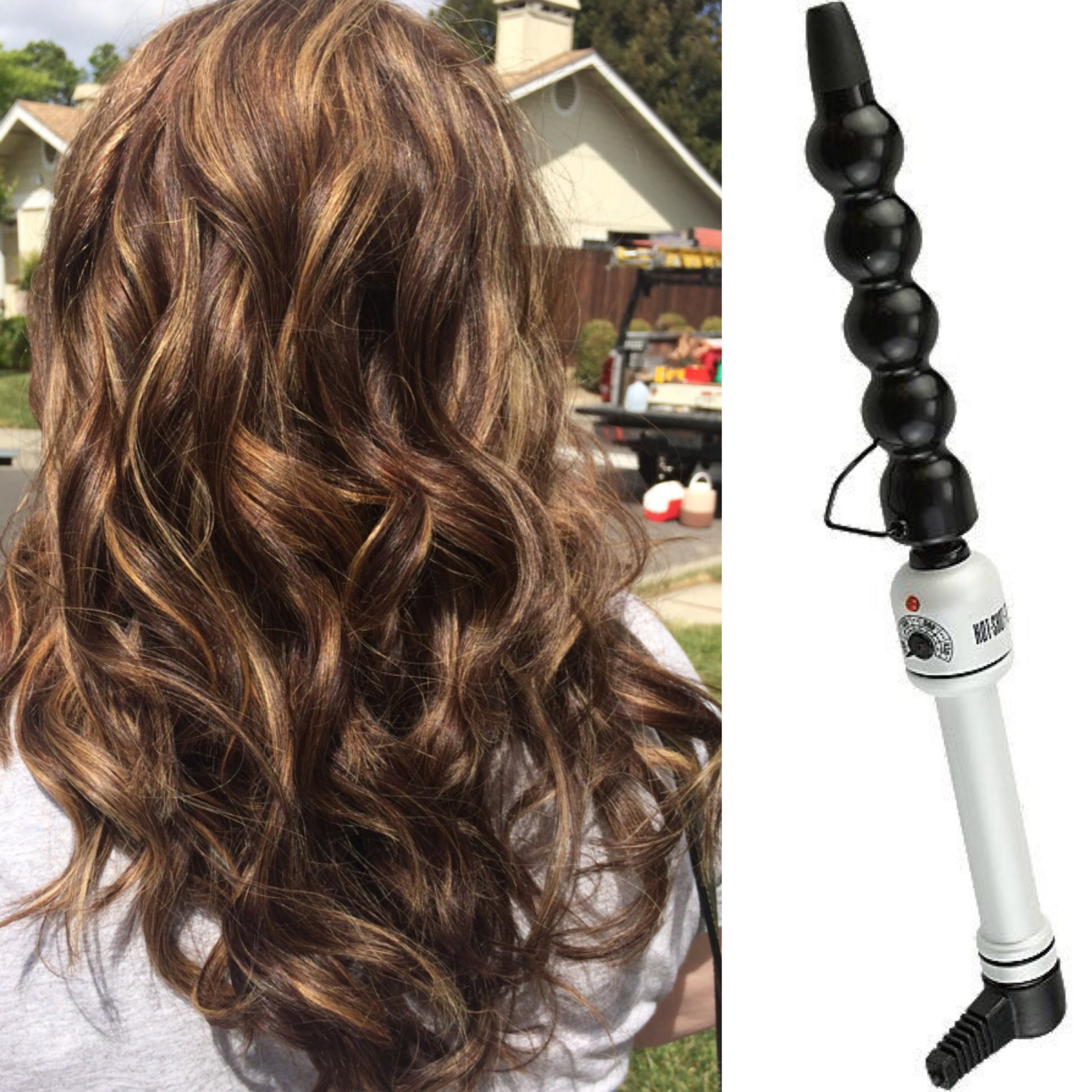 Base Color Highlights And Curls With The Hot Tools Bubble Curling Wand By Samantha