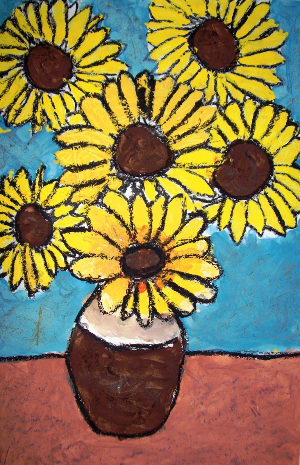 4th Grade Van Gogh Sunflowers | Van gogh sunflowers, Sunflower art ...