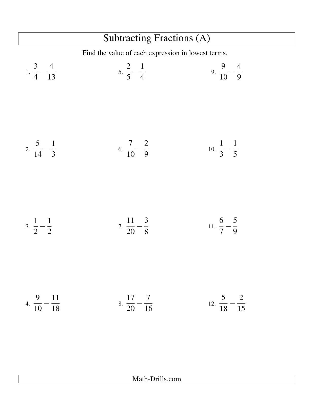 The Subtracting Fractions With Unlike Denominators A