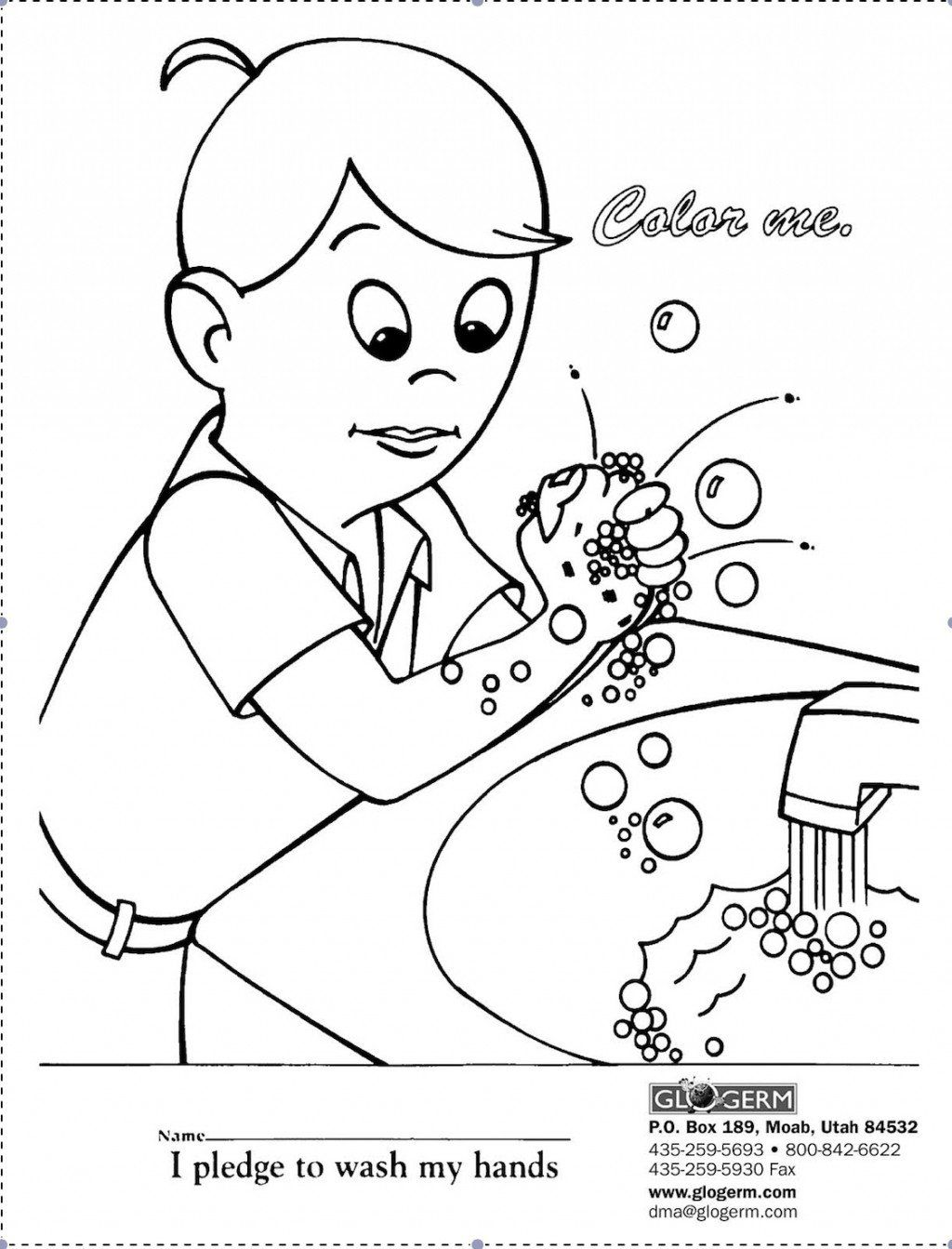 germ coloring page - Washing Hands Coloring Page