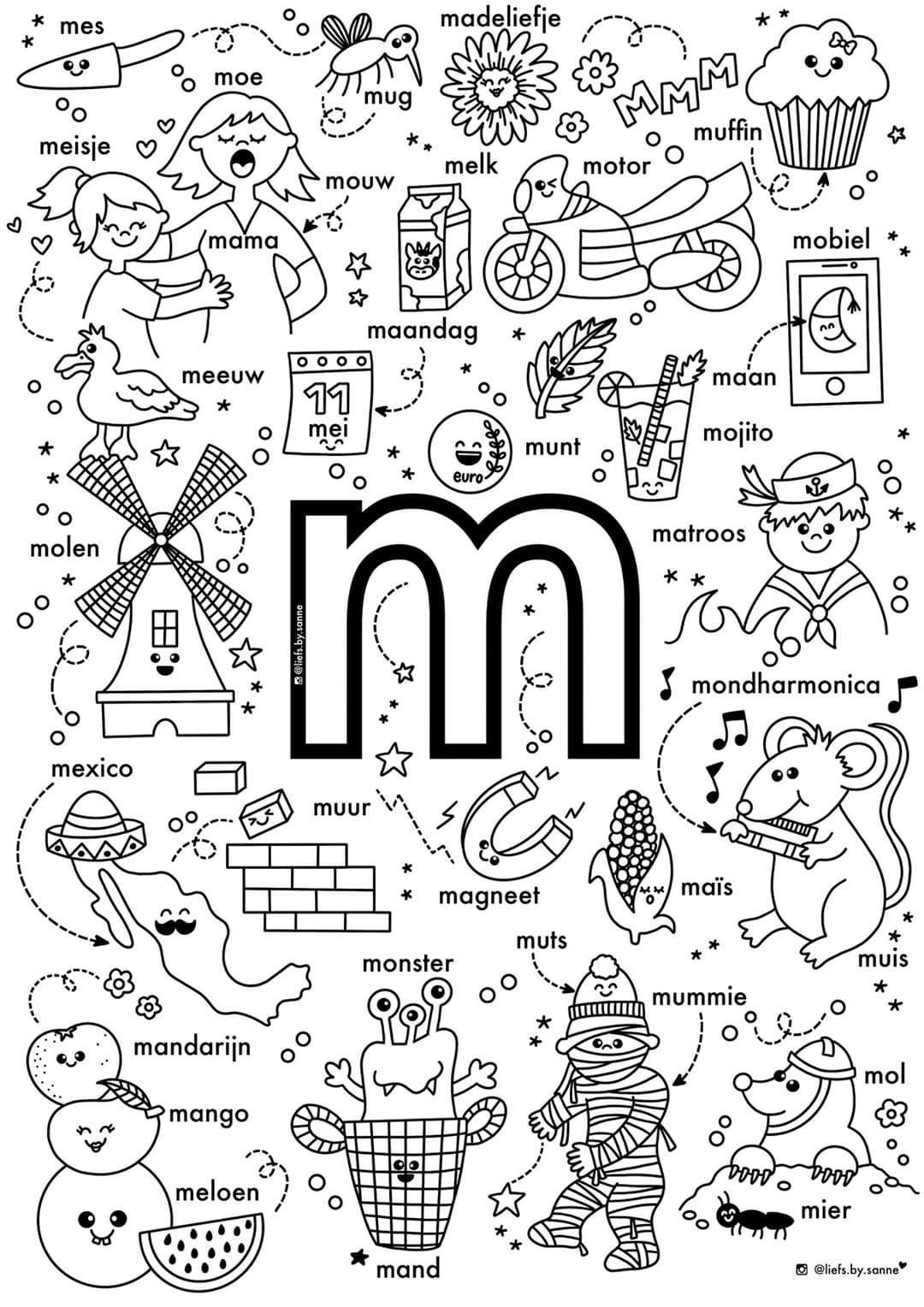 M Woorden Kleurplaat Letterherkenning Spelletjes Alfabet Kleurplaten Letterherkenning