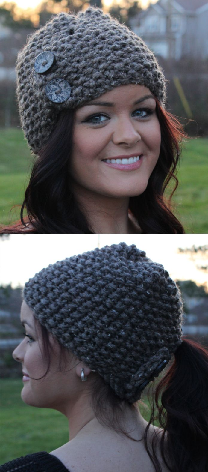 Quick knit in super bulky yarn, this hat can be buttoned in front ...