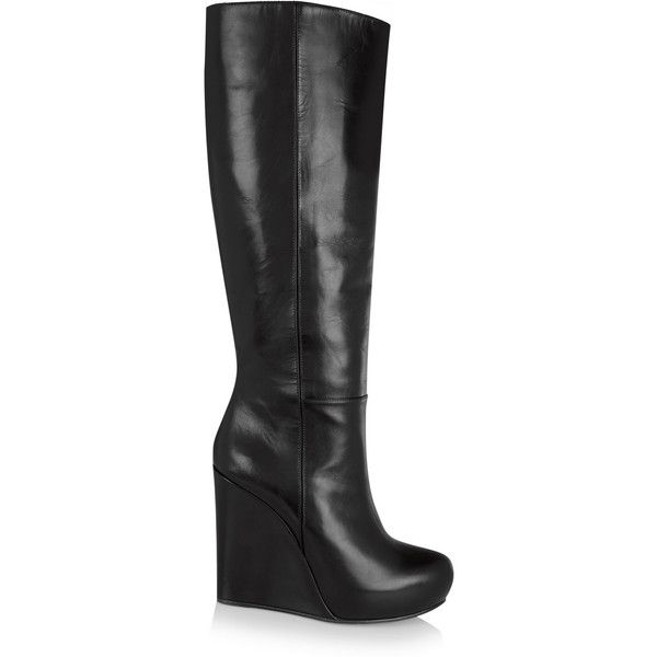 d92ded89f5ea Marni Leather wedge knee boots ( 600) ❤ liked on Polyvore featuring shoes
