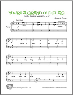 You Re A Grand Old Flag Cohan Easy Piano Sheet Music Digital Print Visit Makingmusicfun Net For Fr Sheet Music Piano Sheet Music Easy Piano Sheet Music