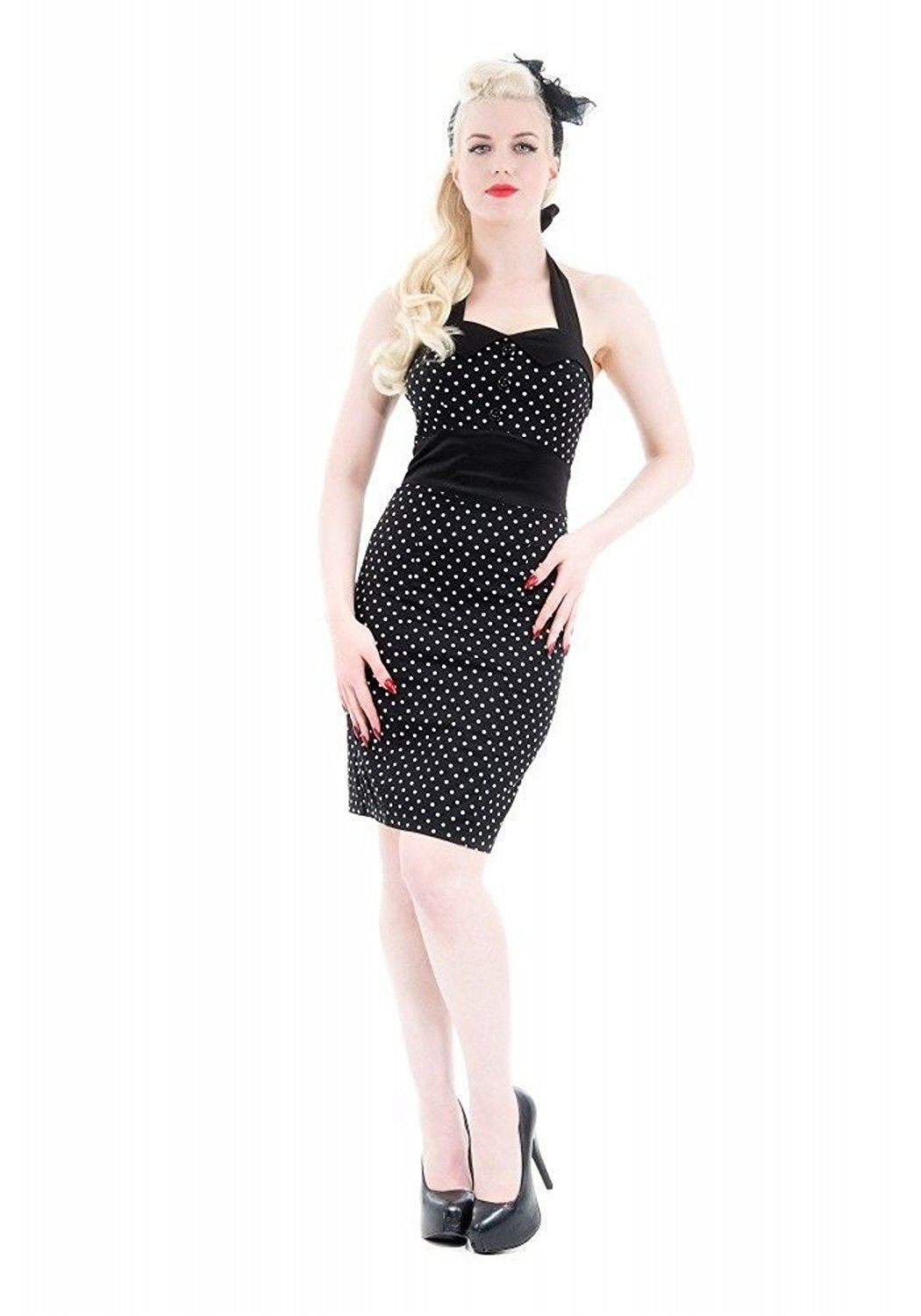 H and r london dress black and white polka dot sexy pencil halter