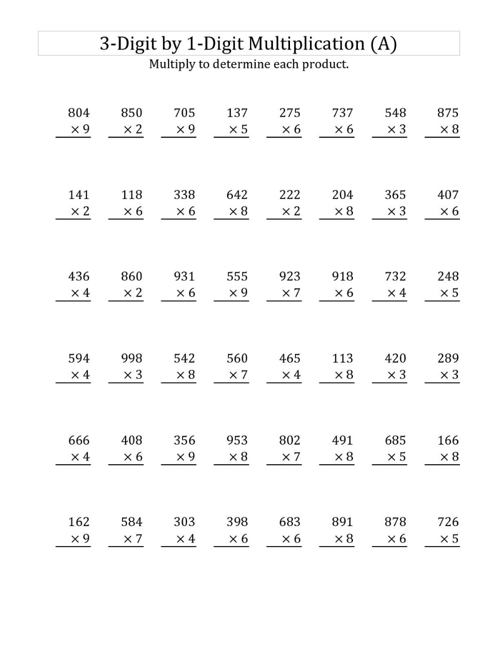 small resolution of Year 3 Math Worksheets to Print   Multiplication worksheets