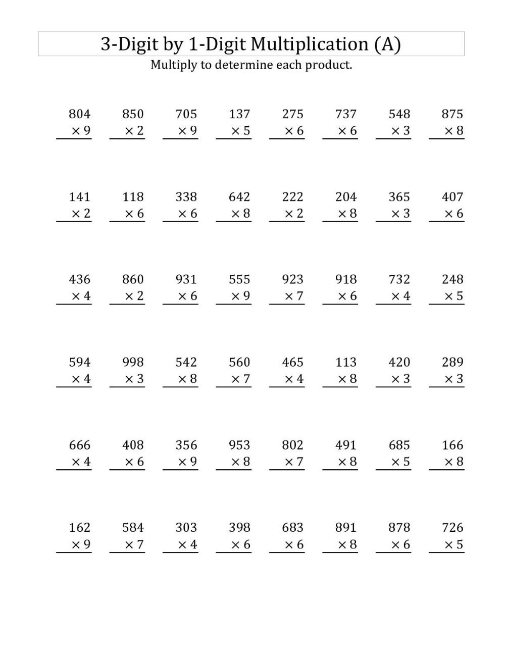 medium resolution of Year 3 Math Worksheets to Print   Multiplication worksheets