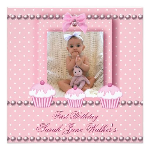 1st Birthday Girl Pink Cupcakes White Pearl Baby Card Pink - invitation card for ist birthday