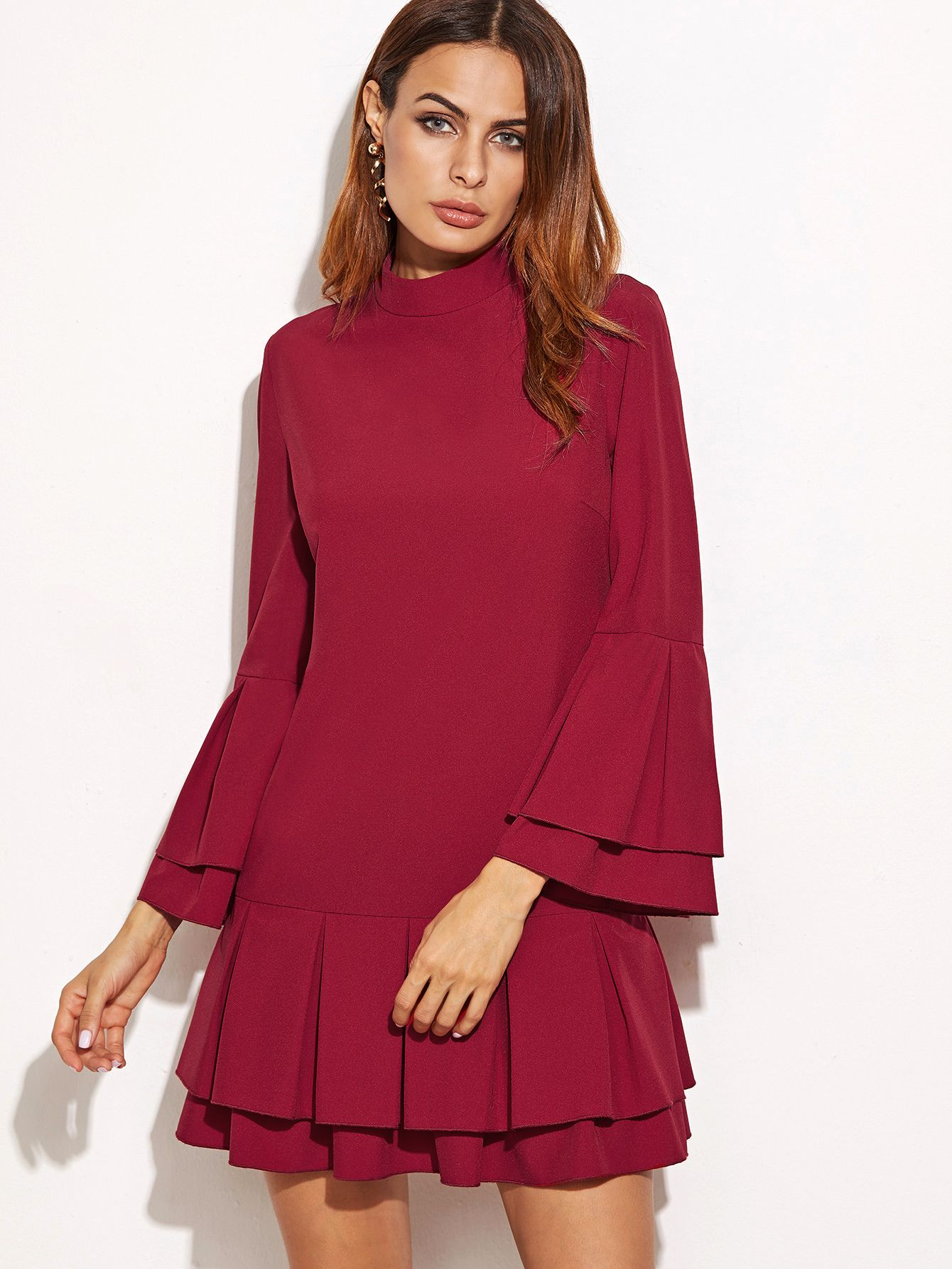 Online shopping for Burgundy Layered Pleated Ruffle Sleeve And Hem Dress from a great selection of women's fashion clothing & more at MakeMeChic.COM.