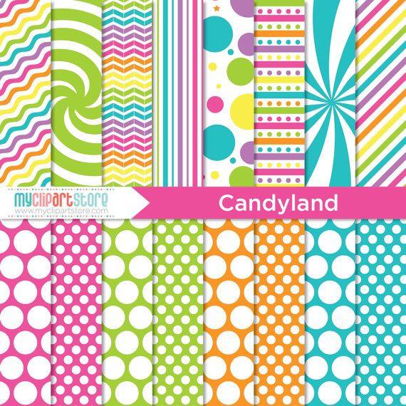 Digital Paper Candyland Rainbow Colored Paper Swirls Birthday