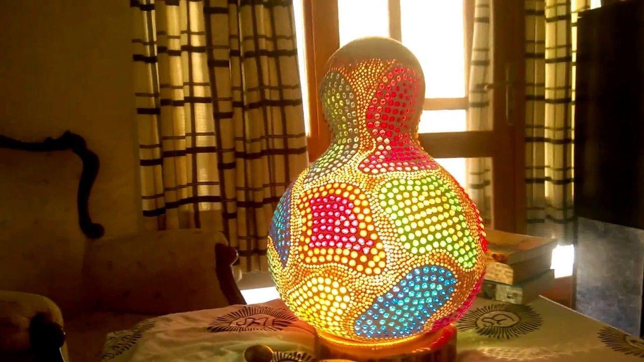 2016 Handmade Gourd Lamp Fly Away Eclectic Boho Hippie Night Light